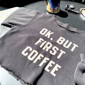 Vintage Sweater 'OK, BUT FIRST COFFEE' Cropped Sml